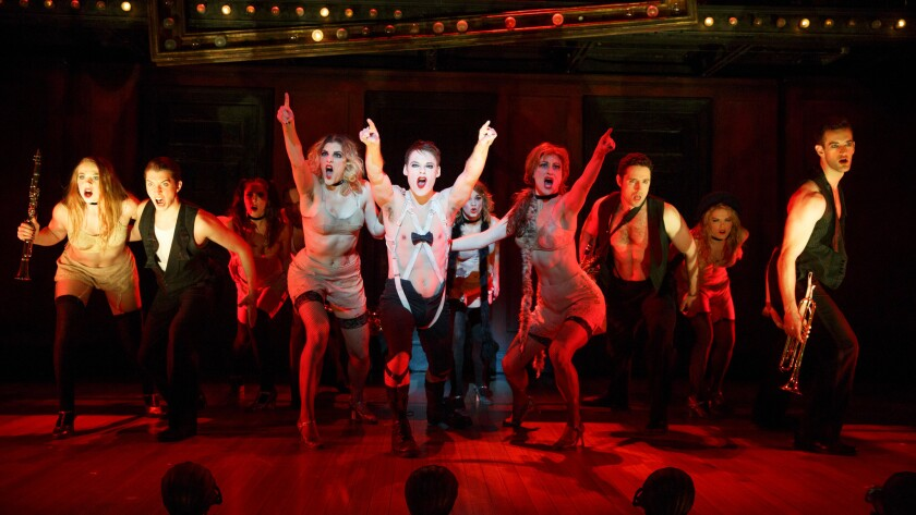 "Randy Harrison and the national touring company of ""Cabaret,"" which first opened in New York 50 years ago."