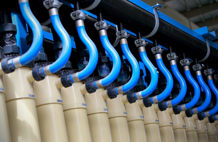 Water is pumped through microfiltration membrane filtration modules (tubes) at the Advanced Water Purification Facility in University City at the city of San Diego's North City Water Reclamation Plant, the first step to making the water comparable as pure distilled water in quality.