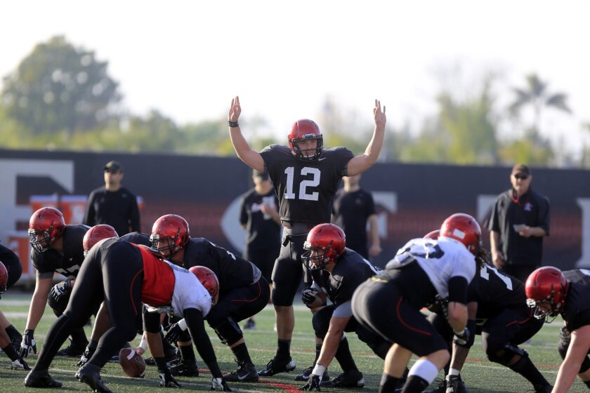 Quarterback Brad Odeman calls an audible during a San Diego State spring practice session.