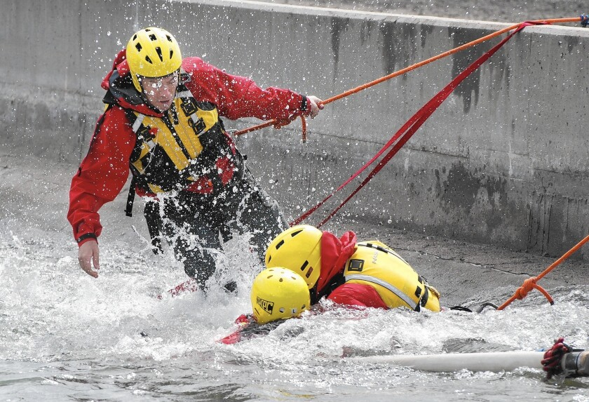 Members of the Montrose Search and Rescue Team participated in swift-water rescue training to prepare for forecasted El Niño storms.
