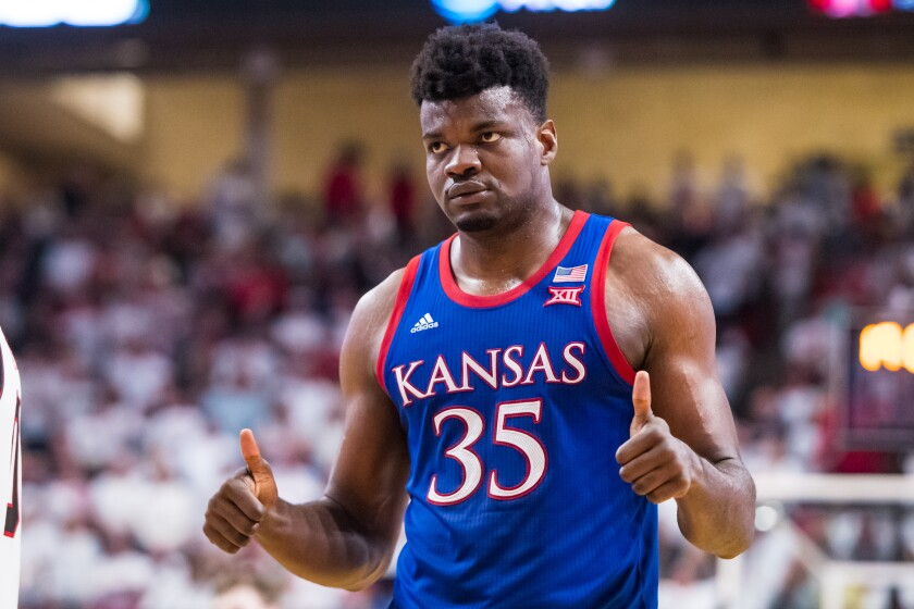 """Kansas center Udoka Azubuike gestures """"thumbs-up"""" during the No. 1 Jayhawks' 66-62 win over Texas Tech on Saturday in Lubbock, Texas."""