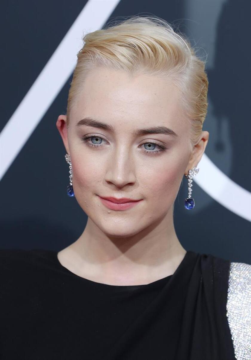 Saoirse Ronan arrives for the 75th annual Golden Globe Awards ceremony at the Beverly Hilton Hotel in Beverly Hills, California. EFE