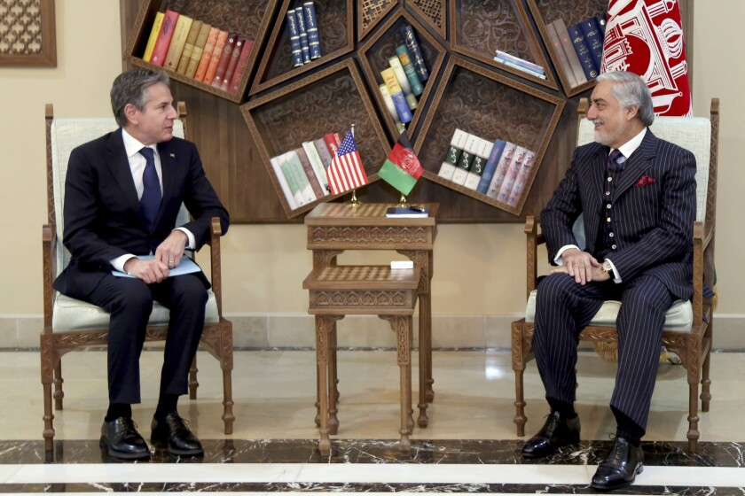 Abdullah Abdullah, Chairman of the High Council for National Reconciliation,  with U.S. Secretary of State Antony Blinken.