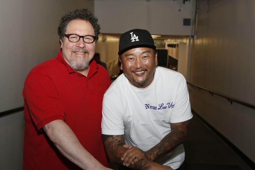 Filmmaker Jon Favreau, left, and chef Roy Choi