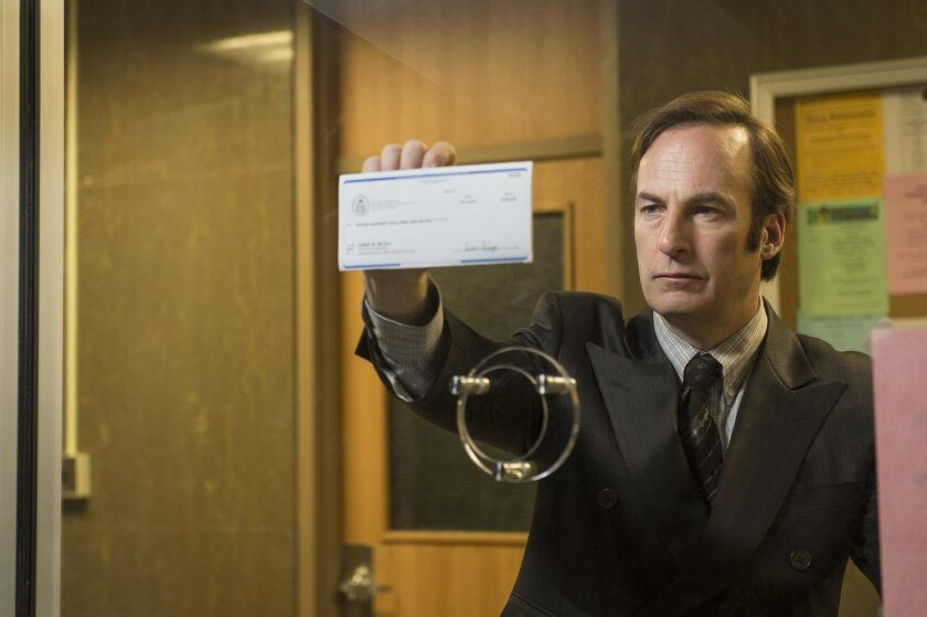 """In this image released by AMC, Bob Odenkirk portrays Saul Goodman  in a scene from """"Better Call Saul."""" Odenkirk reprises his role from """"Breaking Bad,"""" in """"Better Call Saul,"""" a much-anticipated, well-worth-waiting-for prequel airing two episodes Sunday and Monday at 10 p.m. EST. (AP Photo/AMC, Ursul"""