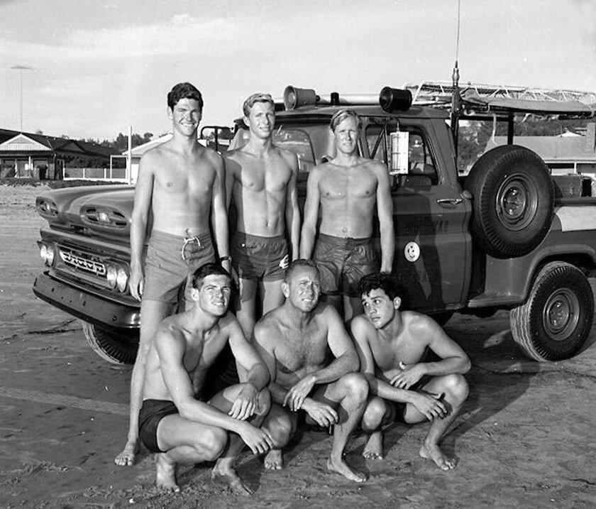 Del Mar Lifeguards in 1965. Front: Jack Ross, Gardner Stevens, Ron Jensen. Back: Paul Kraus, Gerry Meier, Peter Critchlow.