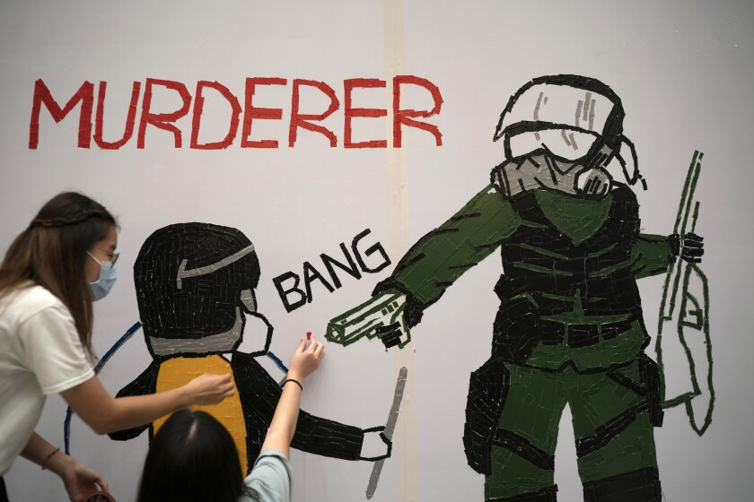 Mural of police shooting