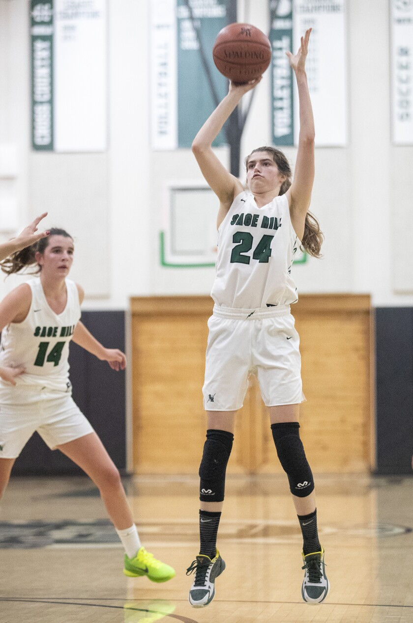 Sage Hill's Isabel Gomez takes a shot during a  quarterfinal game.