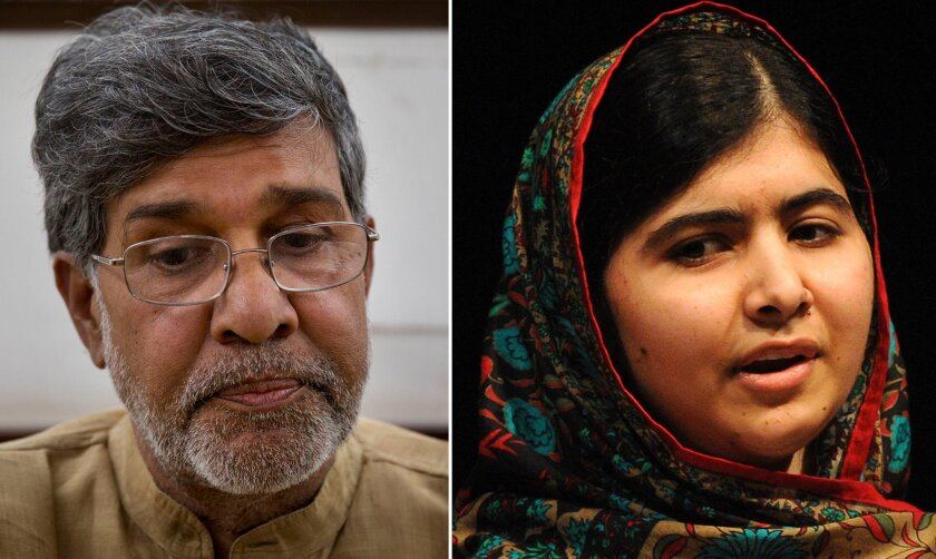 This photo combo shows Indian children's rights activist Kailash Satyarthi, left, and Malala Yousafzai, right. Satyarthi of India and Yousafzai of Pakistan jointly won the Nobel Peace Prize on Friday, Oct. 10, 2014, for risking their lives to fight for children's rights. (AP Photo/file)