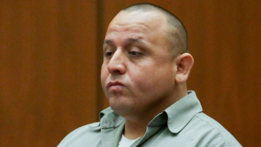 Monterey Park police Officer Israel Sanchez, pictured here at a pretrial hearing, was convicted Monday of sexually assaulting women during traffic stops several years ago.