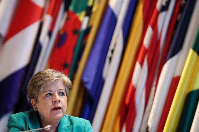The executive secretary of the United Nations Economic Commission for Latin America and the Caribbean (ECLAC), Alicia Barcena, speaks on Dec. 20, 2018, in Santiago, Chile, during the presentation of that organization's final report of the year. EPA-EFE/Alberto Valdes