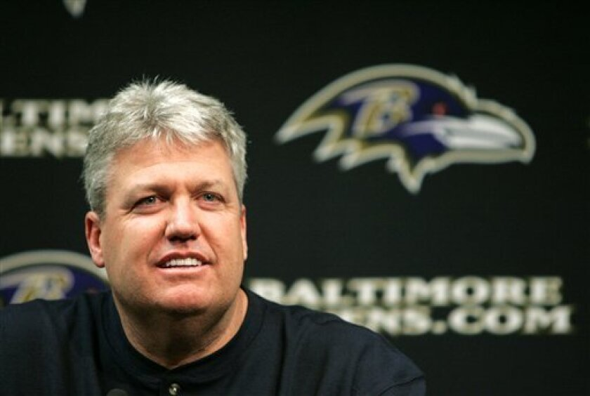 This Jan. 28, 2008 file photo shows Rex Ryan answering a question after being introduced as the Baltimore Ravens new defensive coordinator and assistant head coach, during a news conference in Owings Mills, Md. Ryan would be delighted to wait a few weeks before turning his full attention toward la