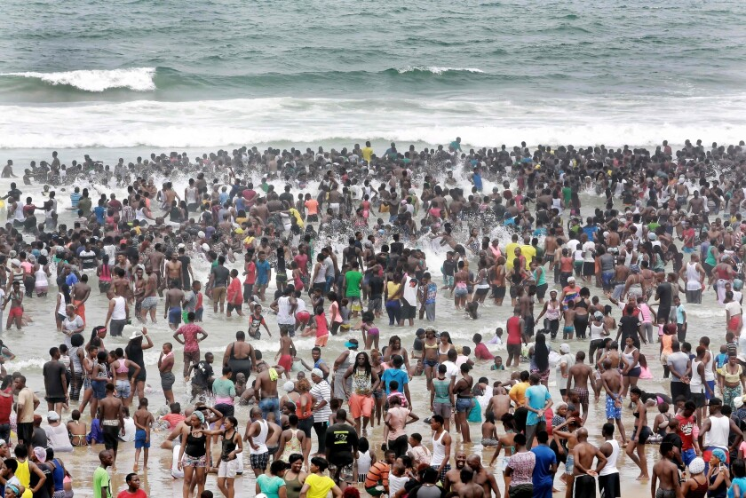 New Year's revelers gather on the North Pier Beach in Durban, South Africa, on Jan. 1.