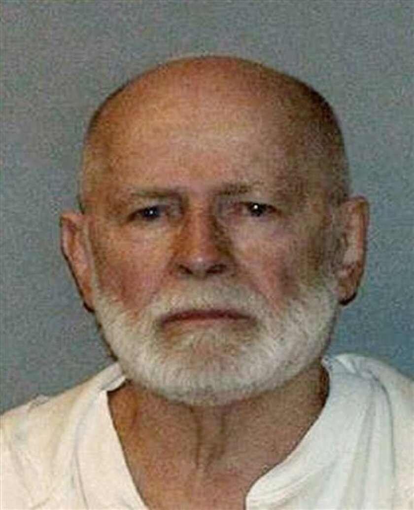 "FILE - This undated file booking photo, obtained by WBUR 90.9 - NPR Radio Boston, shows Boston mob boss James ""Whitey"" Bulger, who was captured on June 22, 2011, in Santa Monica, Calif., after 16 years on the lam. Federal prosecutors in Boston filed notice on Tuesday, June 28, 2011 that they are dr"