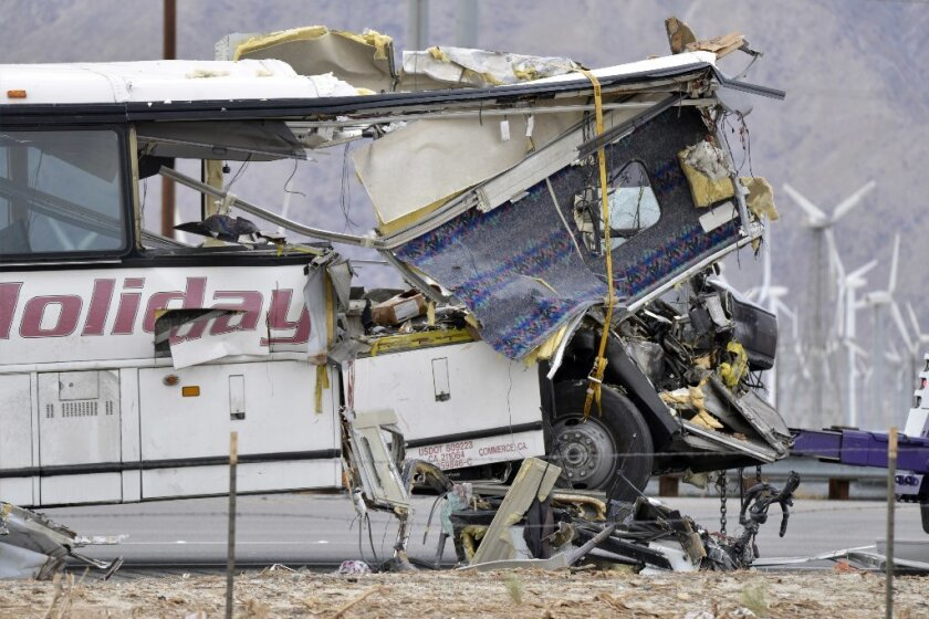 The entire front end of the USA Holiday bus that crashed in Palm Springs crumpled, leading to 13 deaths and significant injuries.