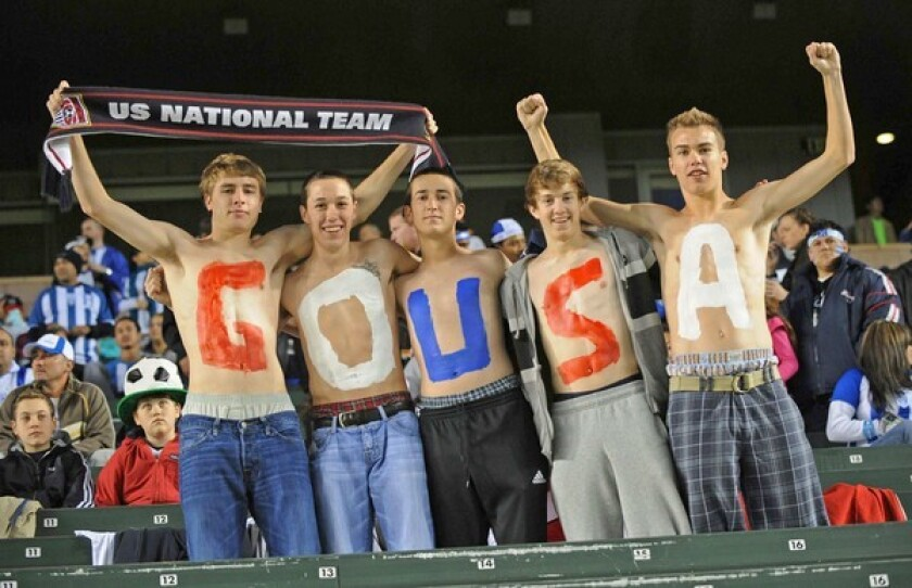 Los Angeles' soccer fan base is relatively small compared with that of other cities around the world, but it is no less devoted. Here, a group shows its true colors at a U.S.-Honduras friendly in January 2010 at the Home Depot Center in Carson.