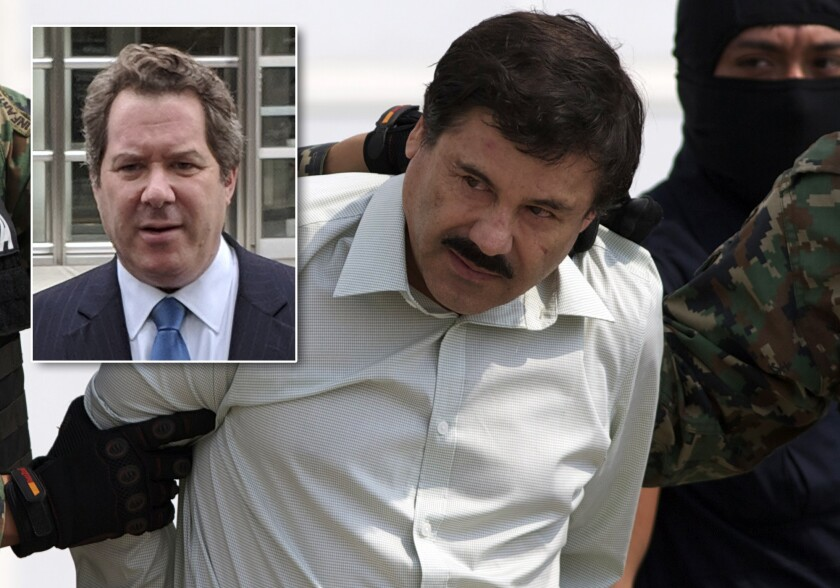 Joaquin (El Chapo) Guzman said Thursday he has no problem with his attorney's conflict of interest that will prevent him from questioning four witnesses in the hotly anticipated trial beginning Nov. 5. Guzman's attorney, Jeffrey Lichtman, is pictured inset.