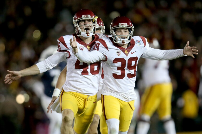 PASADENA, CA - JANUARY 02: Place kicker Matt Boermeester #39 of the USC Trojans (R) celebrates with teammates after making the game-winning 46-yard field goal in the fourth quarter to defeat the Penn State Nittany Lions 52-49 in the 2017 Rose Bowl Game presented by Northwestern Mutual at the Rose Bowl on January 2, 2017 in Pasadena, California. (Photo by Stephen Dunn/Getty Images) ** OUTS - ELSENT, FPG, CM - OUTS * NM, PH, VA if sourced by CT, LA or MoD **