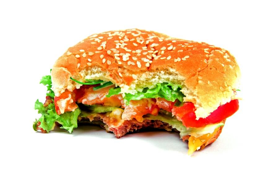 A half-eaten burger.