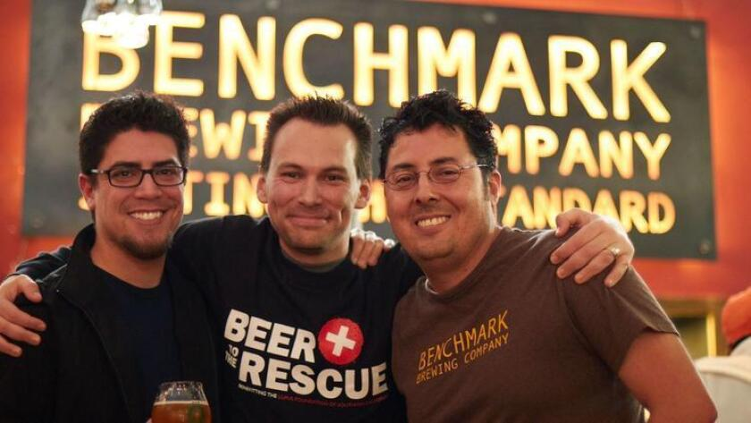 "From left, Andy Tenn, Brandon Hernández and Michael Cardoza at Benchmark Brewing's ""Beer to the Rescue"" event in 2015."