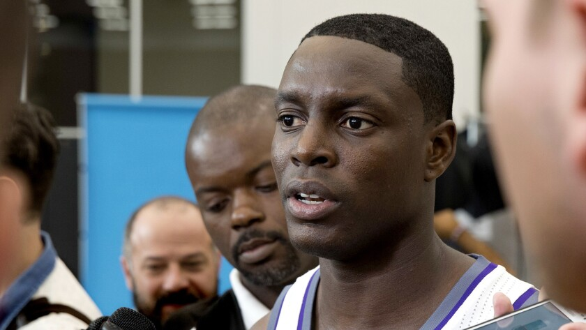 Kings guard Darren Collison talks to reporters during the team's media day on Sept. 26.