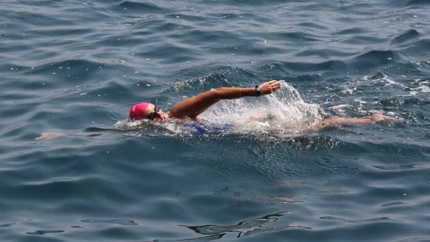 Hall of Fame swimmer Anne Cleveland in the sea off Montecarlo
