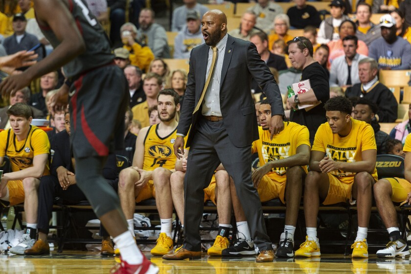 Missouri head coach Cuonzo Martin shouts instructions at his team during the first half of an NCAA college basketball game against Arkansas, Saturday, Feb. 8, 2020, in Columbia, Mo. Missouri won the game 83-79.(AP Photo/L.G. Patterson)
