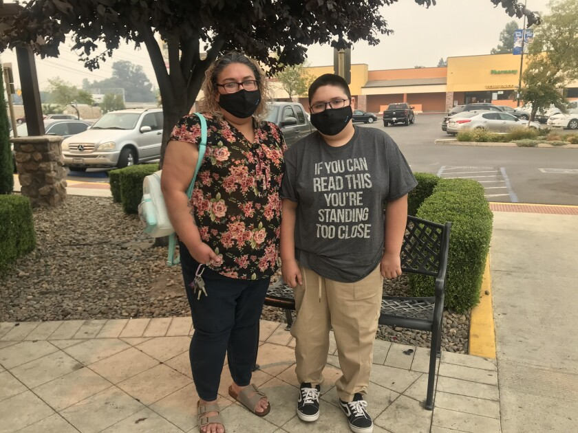 Sonia Mesa and her son Lucas seen leaving a birthday lunch at Olive Garden in Stockton.