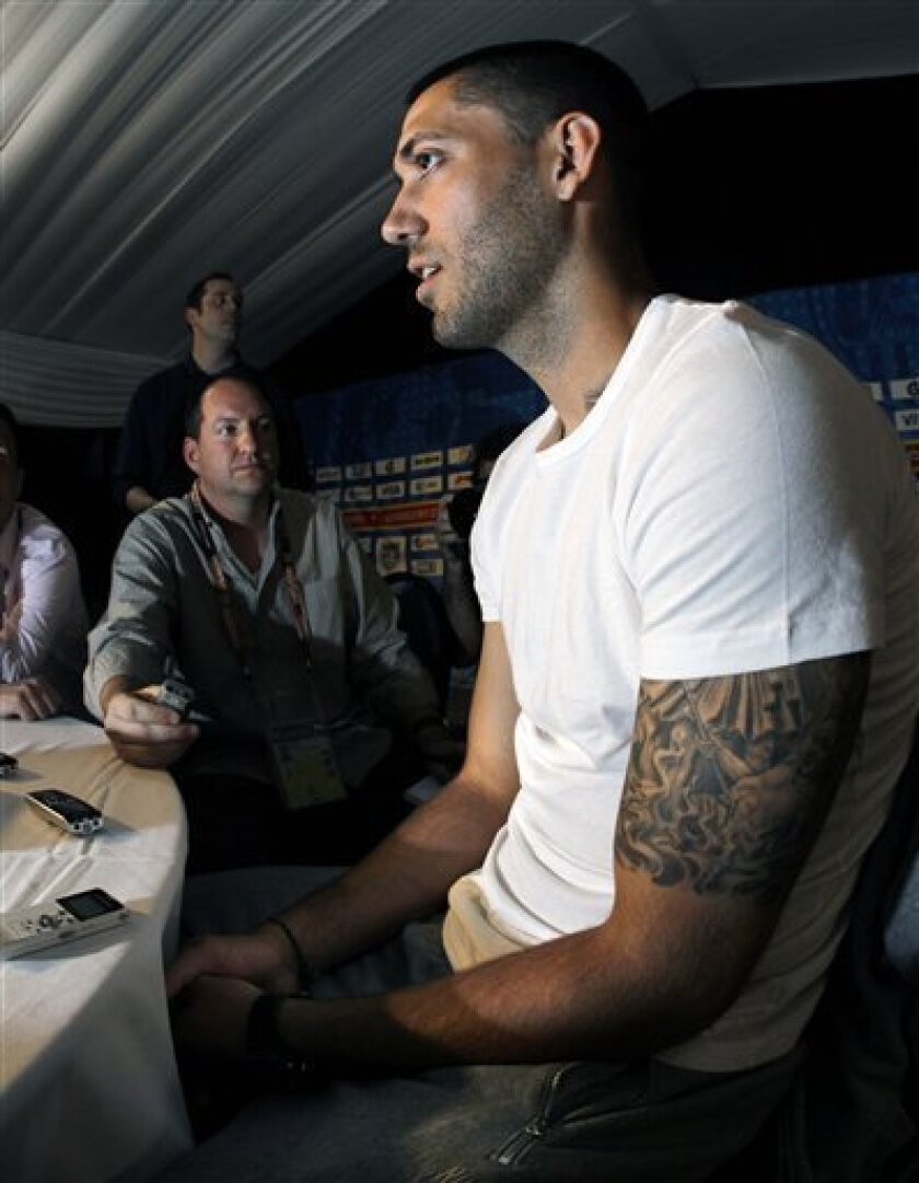 U.S. national soccer team midfielder Clint Dempsey, speaks with reporters during a news conference in Irene, South Africa, Tuesday, June 8, 2010. The U.S. team is preparing for the upcoming World Cup, where it will play in Group C. (AP Photo/Elise Amendola)