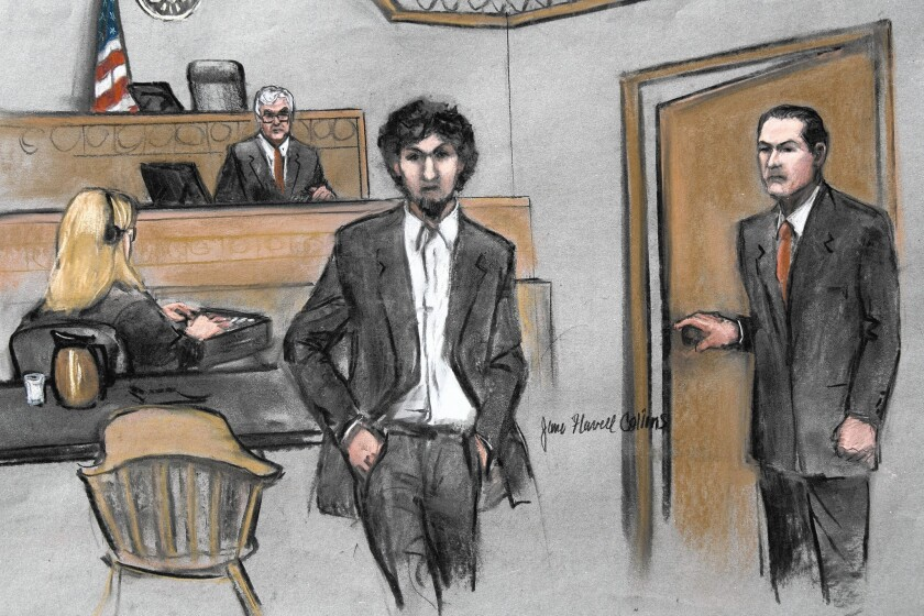 In an artist's sketch, convicted Boston Marathon bomber Dzhokhar Tsarnaev walks from the courtroom after hearing the jury's decision to sentence him to death.