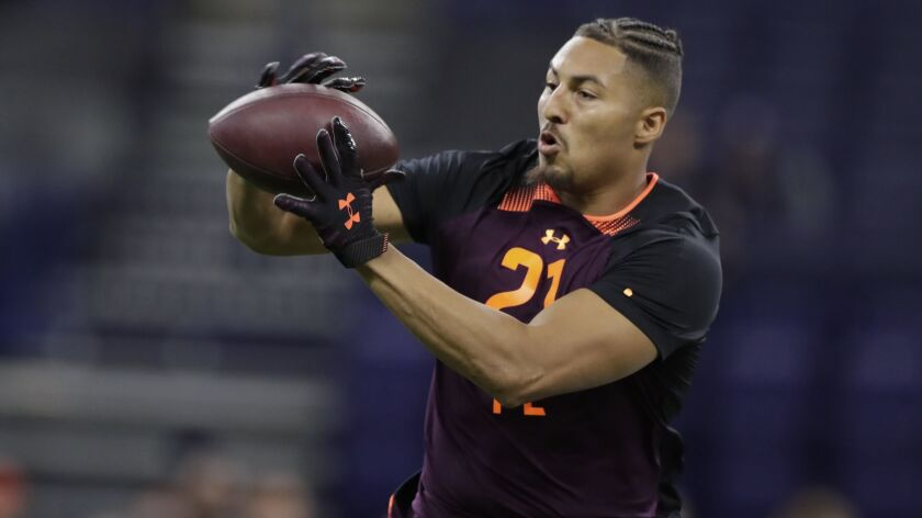 UCLA tight end Caleb Wilson runs a drill at the NFL scouting combine in Indianapolis on Saturday.