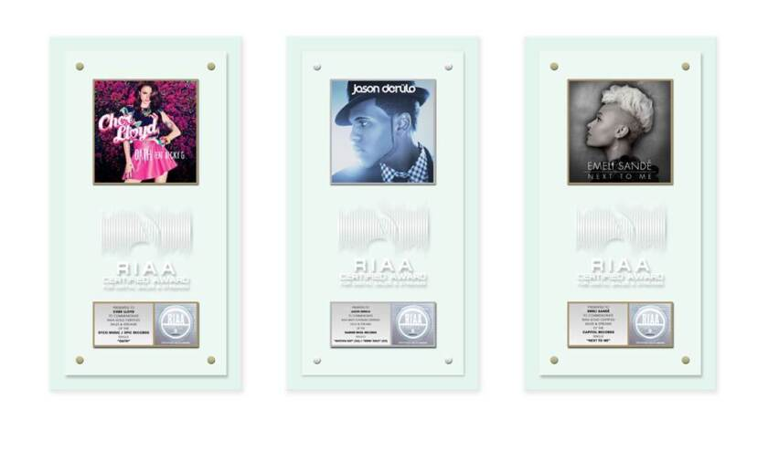 The RIAA will present new digital stream awards plaques to Cher Lloyd, Jason Derulo and Emeli Sande on May 9 in Los Angeles.