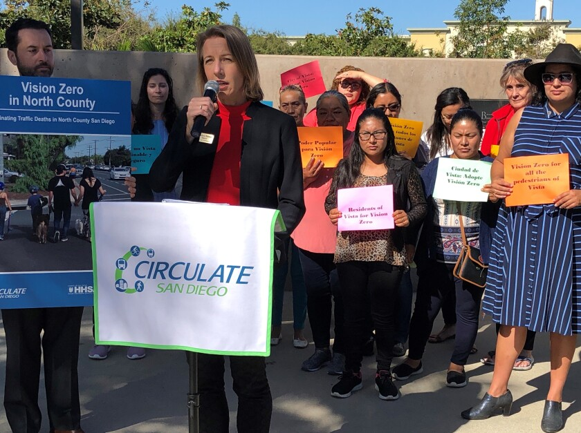 Encinitas Mayor Catherine Blakespear spoke in favor of a North County Vision Zero program.