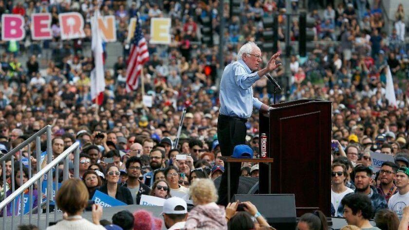 Sen. Bernie Sanders speaks during a rally at Grand Park in downtown Los Angeles on Saturday, Mar. 23, 2019.