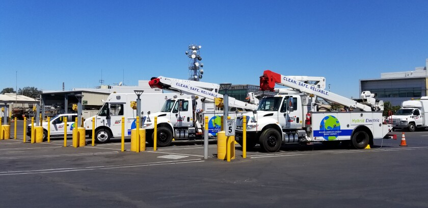 SDG&E trucks and electric charging stations