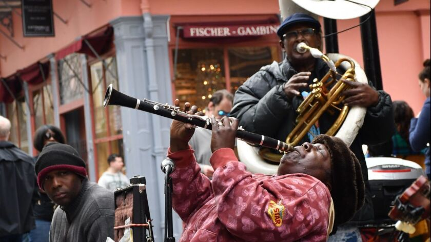 Doreen Ketchens, on clarinet, and her band play Royal Street, New Orleans.