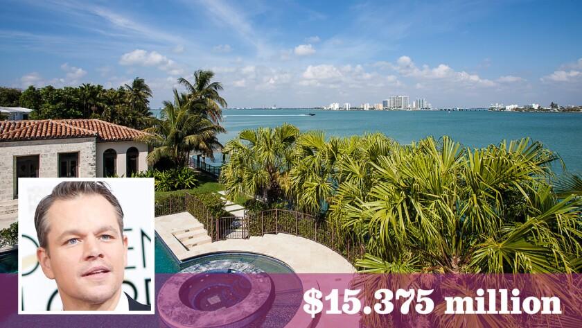 Oscar-winning actor Matt Damon got $15.375 million for the waterfront property overlooking Biscayne Bay.