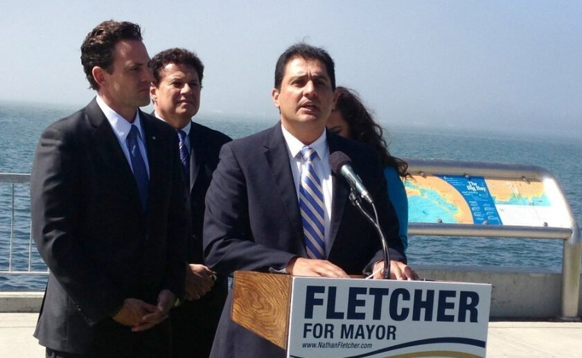 State Sen. Ben Hueso (right) joins state Sen. Marty Block (rear) and Assemblywoman Lorena Gonzales at news conference to endorse Nathan Fletcher (left) for mayor.
