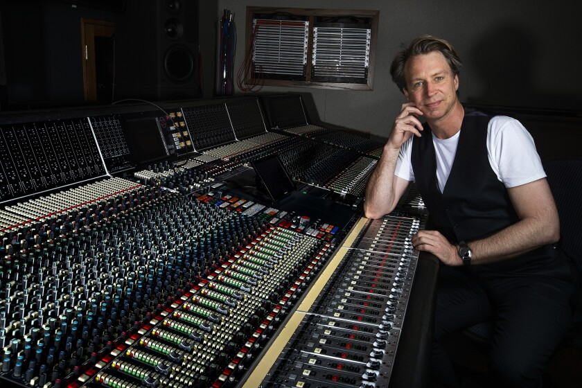Beatles producer Giles Martin at the studio in Capitol Records Tower