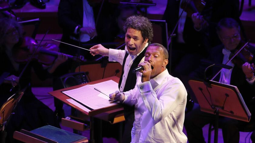"Chris Martin sings the Beach Boys' ""Good Vibrations"" while Gustavo Dudamel conducts the Los Angeles Philharmonic to conclude the ""California Soul"" opening night gala concert."