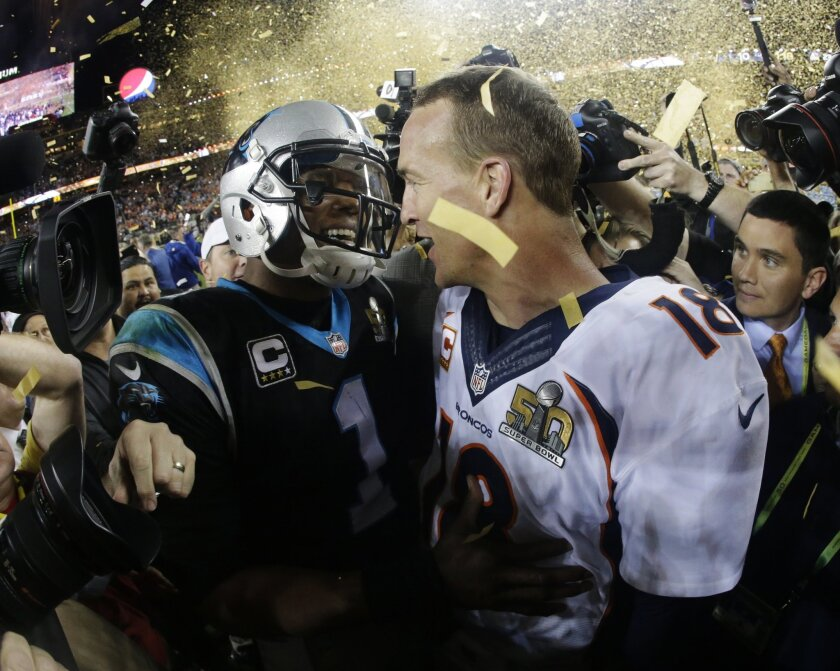 Cam Newton and Peyton Manning after Super Bowl 50