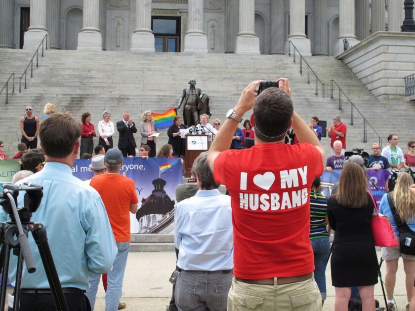 Supporters of gay marriage rally at the South Carolina Capitol in October.