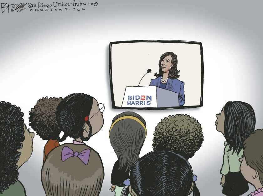 In this Breen cartoon, a group of girls of color look up at Kamala Harris on a TV screen