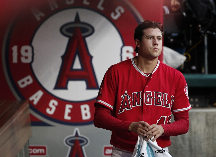 Los Angeles Angels starting pitcher Tyler Skaggs towels off before a game against the Minnesota Twins at Angel Stadium on May 11, 2018 in Anaheim, California.