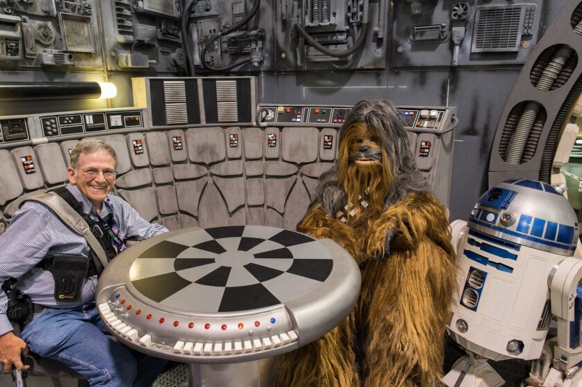 Jan Wagner with Chewbacca & R2-D2 at Star Wars Celebration 2015.
