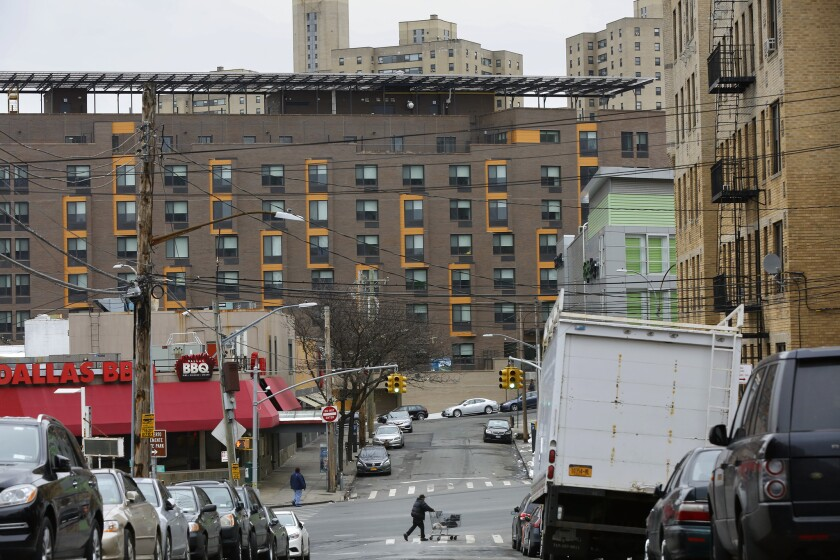 """BRONX, NEW YORK--APRIL 14, 2018--""""The Apartments at Landing Road,"""" (new building in the distance) is"""