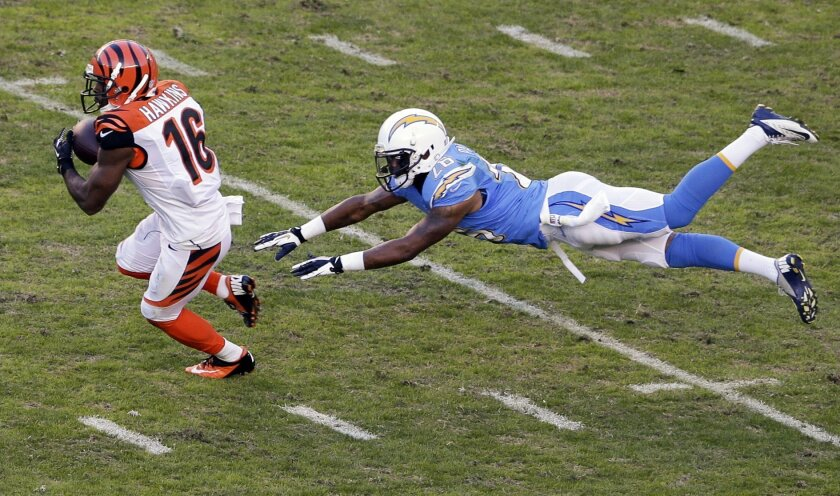 Cincinnati Bengals wide receiver Andrew Hawkins, left, gets past San Diego Chargers cornerback Johnny Patrick on his way to a 50-yard gain during the second half of an NFL football game Sunday, Dec. 1, 2013, in San Diego. (AP Photo/Gregory Bull)