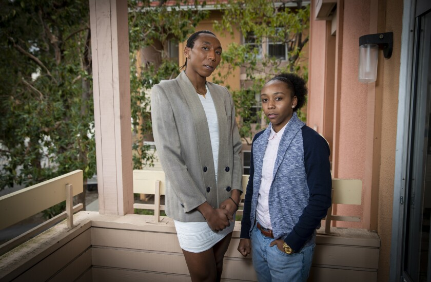 """Donavion """"Navi"""" Huskey, 31, left, a transgender woman, and sibling, Taiyande """"Juice"""" Huskey, a trans-masculine coach, referee and fashion designer, were turned away from restrooms corresponding with their gender identity at last year's Coachella festival."""