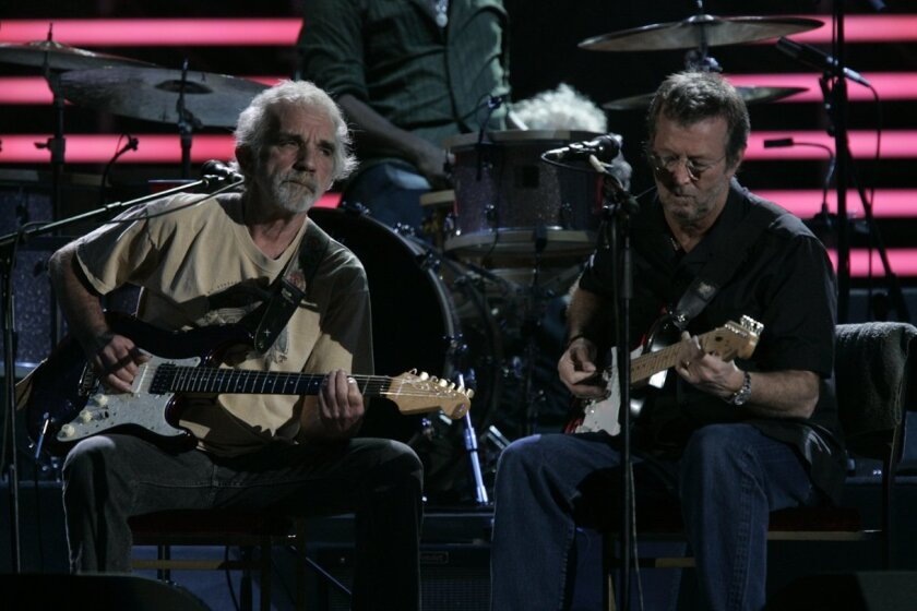 Legendary guitarist Eric Clapton, right, and J.J. Cale of Valley Center perform March 15, 2007.