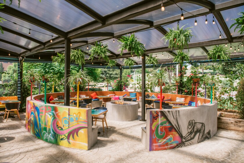 The covered patio at El Jardín Cantina.